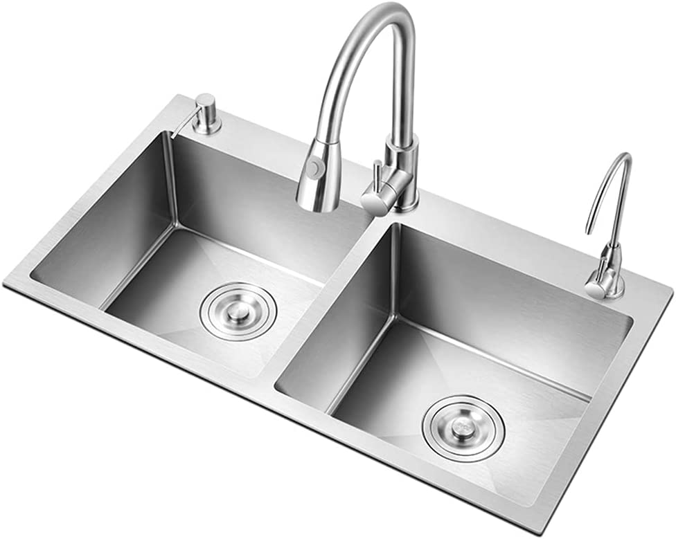 Stainless Steel Flat Double Sink Save money Three-Hole quality assurance Sin Household