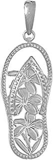 925 Sterling Silver Nautical Charm Pendant, Multi Flower Flip-Flop [Cut-Out]