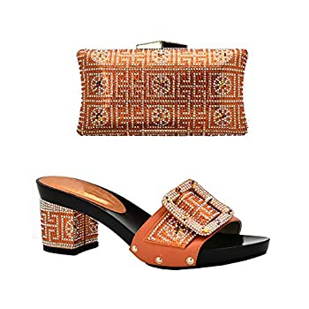 Italian Shoes with Matching Bags for Women African Women Italian Shoes and Bag Set,Orange,10