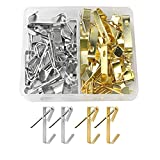 milaosk 40 Piezas Ganchos para Cuadros Metal Ganchos con Clavos para Colgar para Lienzo, Cuadros de Oficina, Reloj, Espejo,30 Lb(oro, plata)
