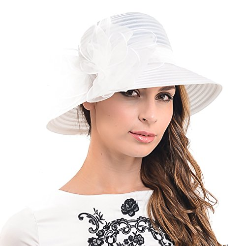 HISSHE HISSHE Ascot Derby Kirche Glocke Hüte Bowknot Kleid Hochzeit Party Sonnenhüte S051 (Weiß)