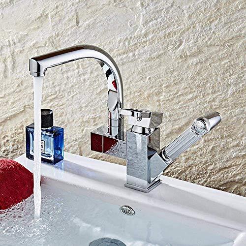 ZLXLX keukenkraan messing chroom badkamer keukenkraan met uittrekbare douchekop waterkraan
