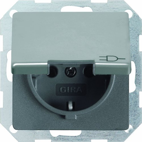 Gira 045420 Schuko stopcontact kinderdeksel Gira E22 roestvrij staal