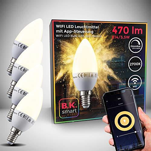 Lampadine LED smart E14, set di 4, dimmerabili con lo smartphone, luce calda 2700K, funzionano con App per iOS e Android, Amazon Alexa, Google Home, lampadina Wi-Fi 5.5W 470Lm, attacco piccolo E14