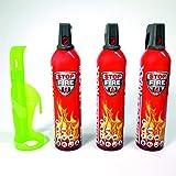 Xenotec® 3-er Set Stopfire 750 ml Feuerlöschspray + 1 Wandhalterung grün (geeignet f. Fettbrände, 3x750g Netto + 1xWandhalterung grün) Reinold Max