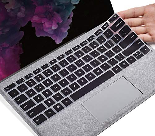 CaseBuy Keyboard Cover for 2020 2019 Microsoft Surface Pro 7 / Surface Pro 6 2018 / Surface Pro 5 2017 / Surface Pro 4, Surface Pro 12.3 Keyboard Protector Skin, Surface Pro Accessories, Black