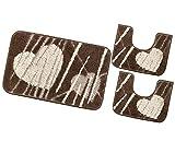 emmevi Juego de 3 alfombras de baño suaves, antideslizantes, absorbentes, lavables, mod. lirio (C), juego de 3 piezas, color marrón