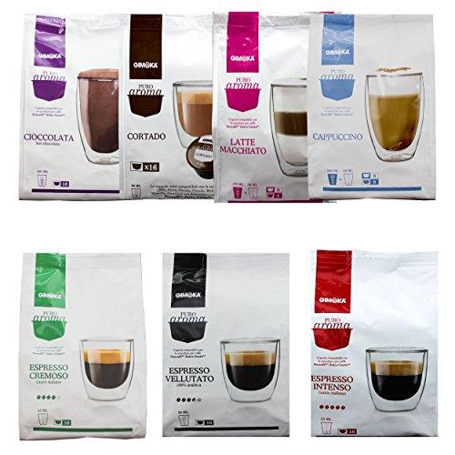 Gimoka Set di Prova, Capsule Caffè & Cacao, Set da 7, per Macchine Dolce Gusto