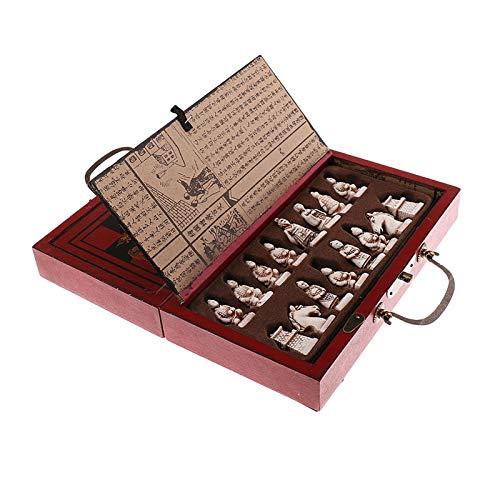 Zhice Hölzerne antike chinesische Schachfiguren Set Brettspiel Familie Freizeit Spielzeug