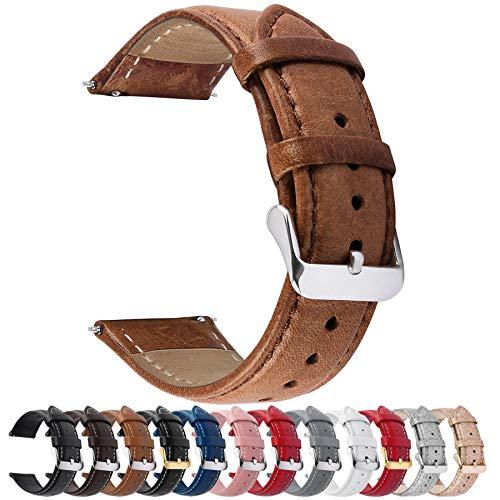 Fullmosa 22mm Uhrenarmband,Axus Serie Lederarmband Ersatzband,austauschbares Uhrenarmband für Herren Damen,22mm Baumcreme Brown
