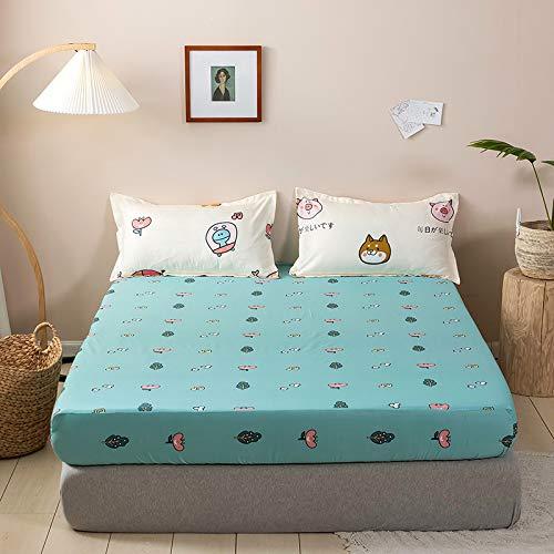 haiba Luxury Bedding - Sábanas bajeras ajustables de 100% algodón, color individual, doble, king y superking, 180 x 200 cm + 20 cm