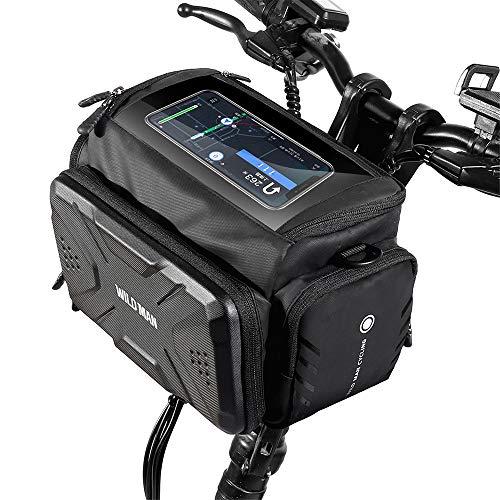 C/H Bolsa de bicicleta eléctrica Scooter Front Bag 4L de gran capacidad impermeable para manillar de bicicleta con pantalla táctil para accesorios de ciclismo