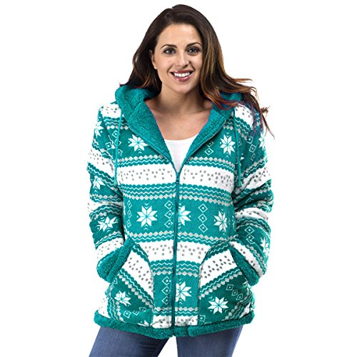 TrailCrest Ladies Smart Plush Sherpa Lined Hooded Sweater Jacket, Zip Up Classic Teal