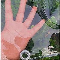 透明PVC防水ターポリンソフトプラスチックバルコニーウィンドウフィルムレインカーテンサンプロテクションファブリックターポリン折りたたみ式キャノピーアイレット(0.35mm / 365g / m²)(サイズ:1x6m / 3.3x19.7ft)