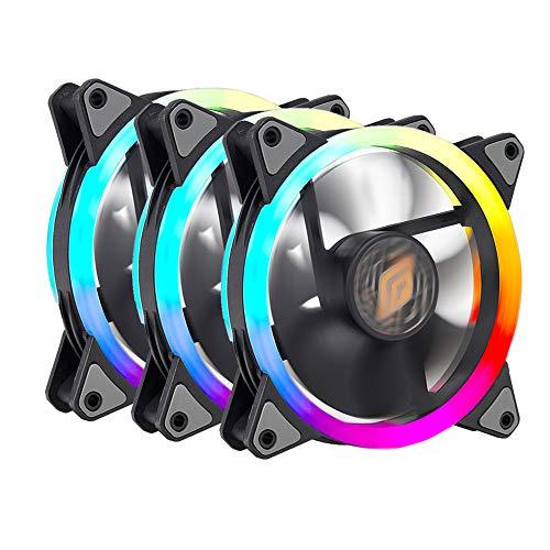 Noua Lips Black 3 Ventole PWM 16 LED Dual Halo RGB Rainbow Addressable 5V 3pin Cooling Fan 120 mm 6-Pin 1200rpm Compatibile ASUS Aura SYNC Gigabyte RGB Fusion MSI Mystic Light SYNC AsRock Polychrome