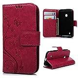 MAXFE.CO Lederhülle Leder Tasche Case Cover für Nokia Lumia 530 N530 Hülle PU Schutz Etui Schale Rose rot Backcover Flip Cover Wallet mit Standfunktion Karteneinschub & Magnetverschluß Etui