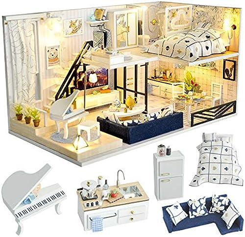 YELLO Maison Miniature De Bricolage avec Le Modèle De Couvercle Anti-Poussière De Musique De Meubles LED, Blocs De Construction Jouets pour Enfants