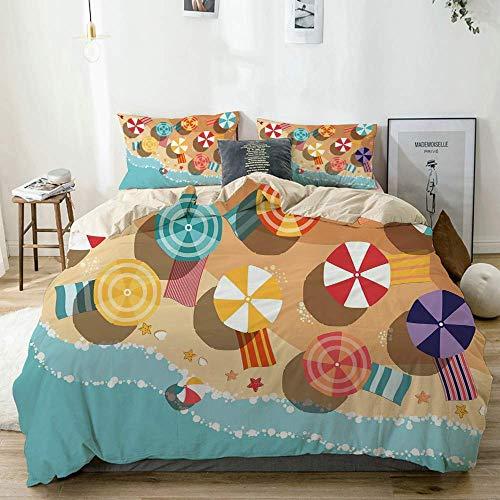 Juego de funda nórdica beige, verano de la costa con sombrillas de colores, estrellas, diseño plano, vista aérea, vacaciones, juego de cama decorativo de 3 piezas con 2 fundas de almohada, fácil cuida