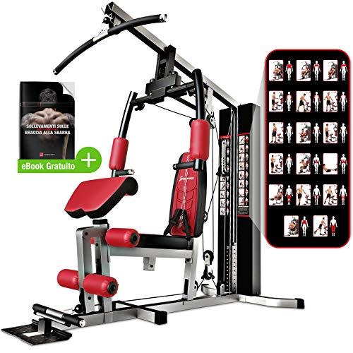 Sportstech 50in1 Premium Multistazione con Sacca da Boxe per Un Allenamento Completo | Palestra Multifunzionale con Stepper e Torre di trazione LAT | HGX in Materiale Eva | Pugilato a casa