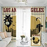 Apartment Decor Collection Studio partition Living Room Curtain Los Angeles City from California in Vintage Style Birds Vacation Journey Design for Living Room or Bedroom W72 x L108 Inch Ivory Olive