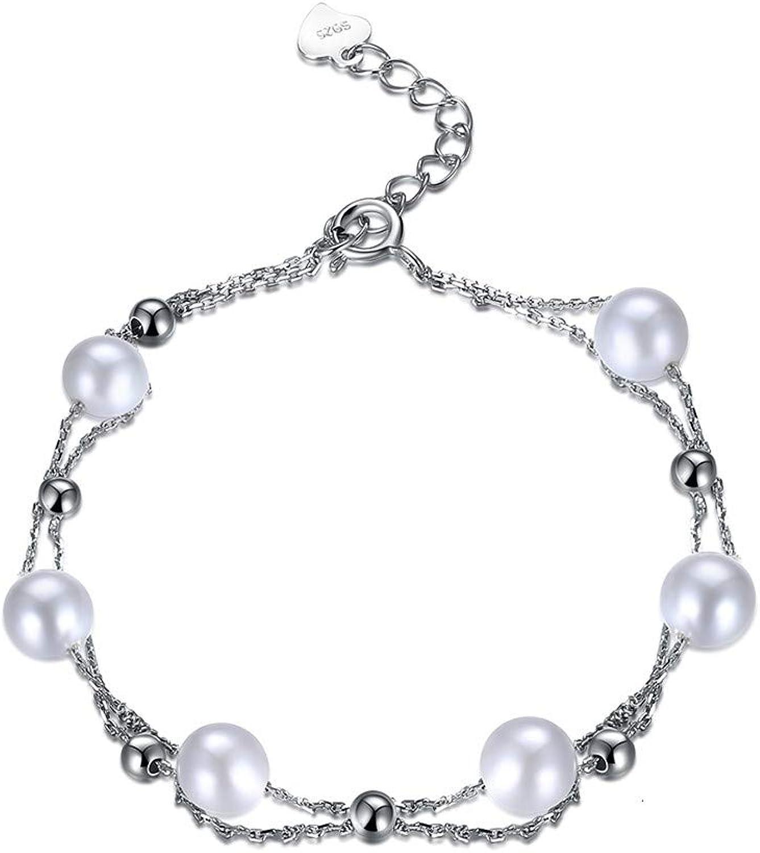 ACZDFAZ 925 Sterling Silver Jewelry Bracelets Decorating pear for Women Cute Chain Link Bracelet Birthday Gift for Girls