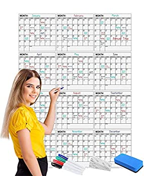 Jumbo Dry Erase Yearly Calendar 36 x 48 Inch Vertical 12 Month Reusable Wall Planner Includes 4 Markers 1 Eraser and Mounting Tape