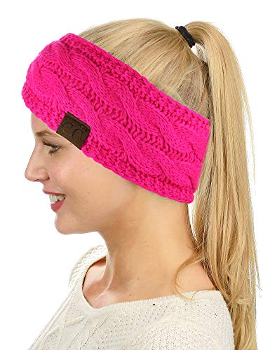 C.C Soft Stretch Winter Warm Cable Knit Fuzzy Lined Ear Warmer Headband, Neon Hot Pink