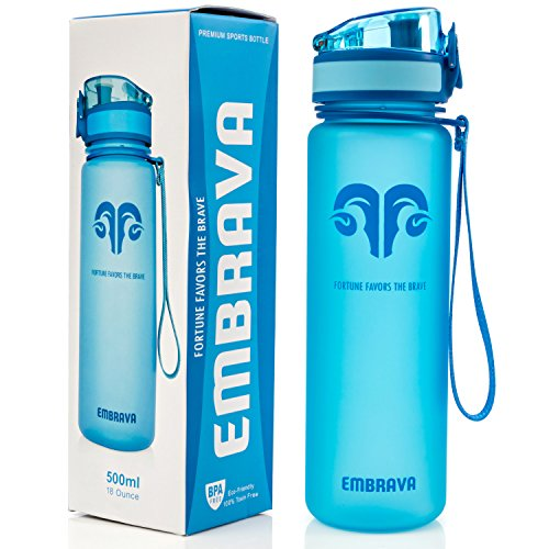 Embrava Best Sports Water Bottle - 17oz Small - Eco Friendly & BPA-Free Plastic - For Running, Gym, Yoga, Outdoors and Camping - Fast Water Flow, Flip Top, Opens With 1-Click