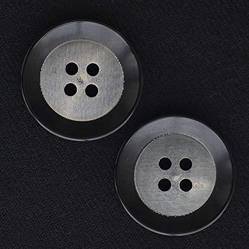 【ラフ加工デザイン】 水牛ボタン #BT269 4穴25mm C/#BK ブラック 黒 2個セット