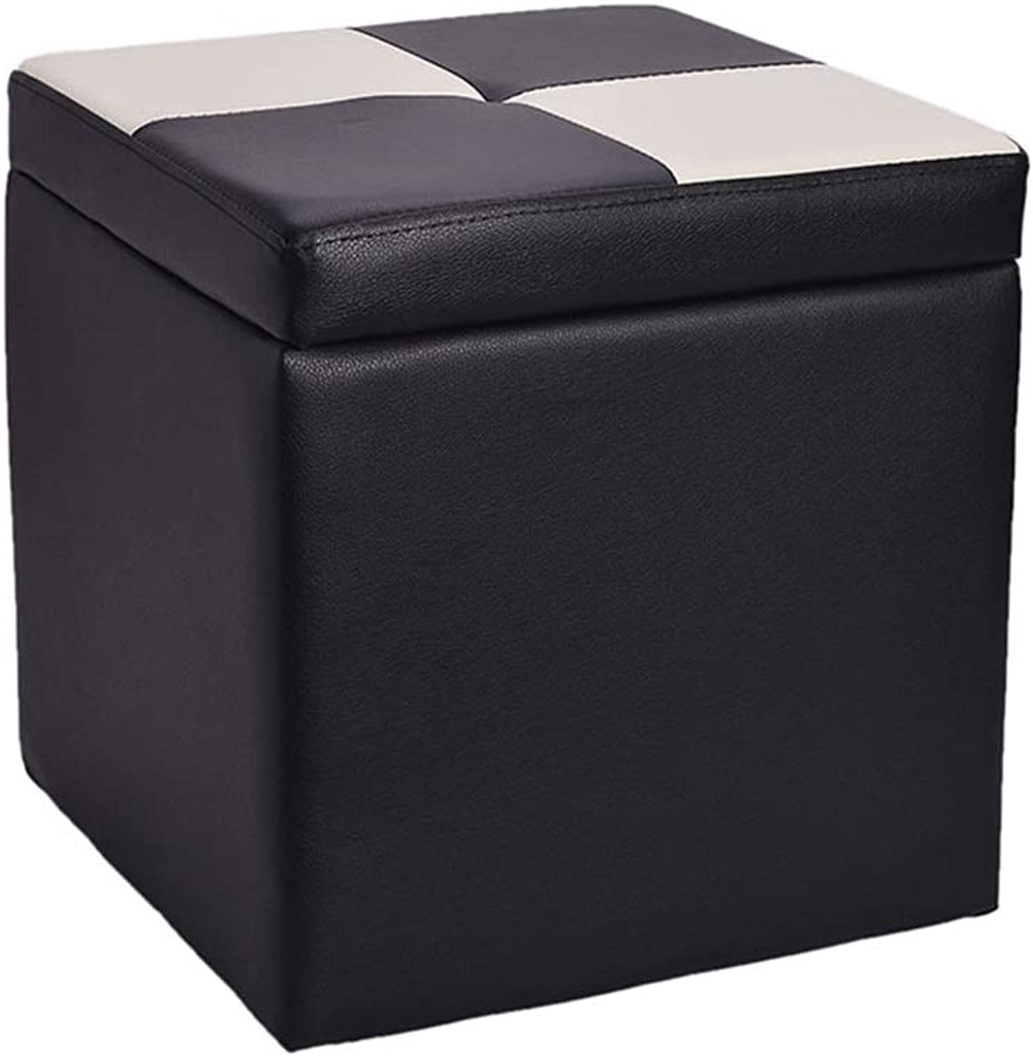Footstool Sofa Creative Storage Stool Wooden Change shoes Stool PU Faux Leather Footstool Pouffe Footrest Single Seat Cube Box(Black) Upholstered Wood (color    1)