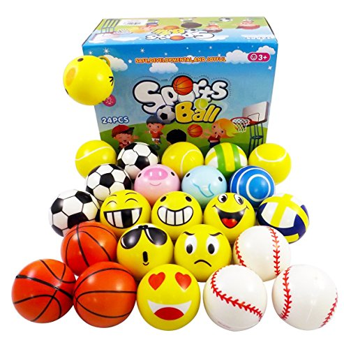 Set of 24 Mini Foam PU Sports Emoji Funny Face Soft Toy Stress Balls Variety Pack for Kids and Adults Party Favors (Assorted Styles)