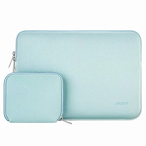 MOSISO Laptop Sleeve Compatible with 15 inch MacBook Pro Touch Bar A1990 A1707, ThinkPad X1 Yoga, 14 Dell HP Acer, 2019 Surface Laptop 3 15, Water Repellent Neoprene Bag with Small Case, Mint Green