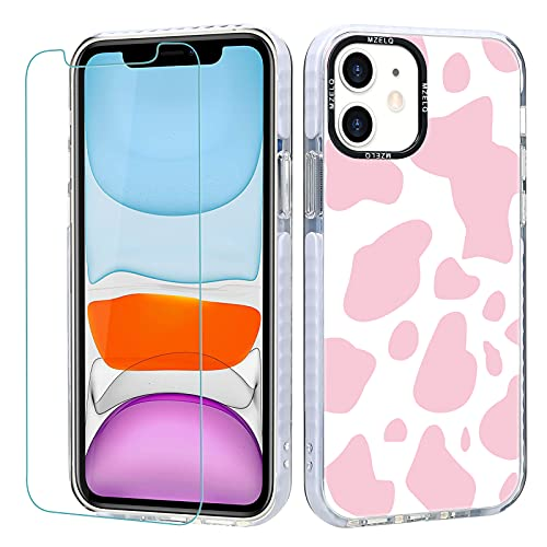 MZELQ Designed for iPhone 11 Case, Cute Pink Cow Print TPU Phone Pink Cow Patterns Case + Screen Protector Compatible with iPhone 11 6.1 inch Fit Girls Women iPhone 11 Case