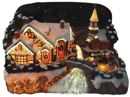 insatech Dorfszene mit Bach in Fiberoptik beleuchtetes Weihnachtsdorf Schlittschuhläufer