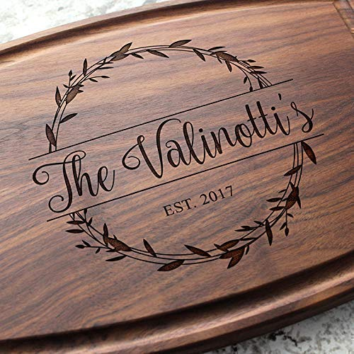 Rosemary Branch Round Garland Personalized Cutting Board - Engraved Custom Cutting Board, Wedding, Engagement, Bridal Shower, Housewarming, Closing Gift W-040 GB