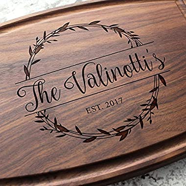 Rosemary Branch Round Garland Personalized Cutting Board - Engraved Custom Cutting Board, Wedding, Engagement, Bridal Shower, Housewarming, Closing Gift W-040 GB