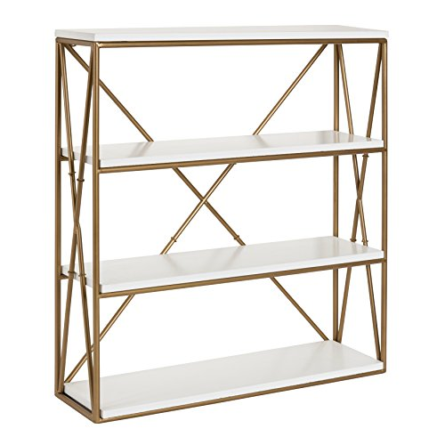 Kate and Laurel Ascencio 4-Layer Modern Luxe Wooden Wall Shelves with Matte Gold Metal Frame and White Display Boards, 22x6x24.25