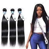 "Peruvian Straight Hair 3 Bundles 14"" 16"" 18""(300g), 10A Virgin Straight Human Hair Bundles 100% Unprocessed 1B Peruvian Human Straight Hair Bundles Extensions"