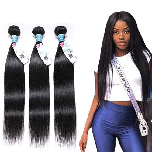 Peruvian Straight Hair 3 Bundles 14' 16' 18'(300g), 10A Virgin Straight Human Hair Bundles 100% Unprocessed 1B Peruvian Human Straight Hair Bundles Extensions