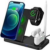 Wireless Charging Station, 4 in 1 Qi-Certified Fast Wireless Charger Stand Dock for iWatch Series SE/6/5/4/3/2/1, AirPods and Pencil, Compatible for iPhone 12/11 Series/XR/XS/X/8/8 Plus/Samsung