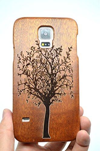 PhantomSky Cassa di Legno di Samsung Galaxy S5, [Serie di Lusso] qualit à Premium Cover in bambù/Legno Naturale per Il TuoSmartphone - Albero di Natale Legno Rosa(Rose Wood Christmas Tree)