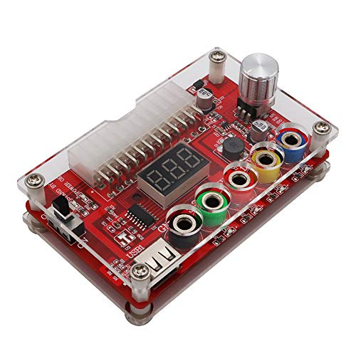 LYWS ATX Power Supply Breakout Board and Acrylic Case Kit with ADJ Adjustable Voltage Knob, Supports 3.3V, 5V, 12V and 1.8V-10.8V (ADJ) Output Voltage, 3A Maximum Output, Reset Protection