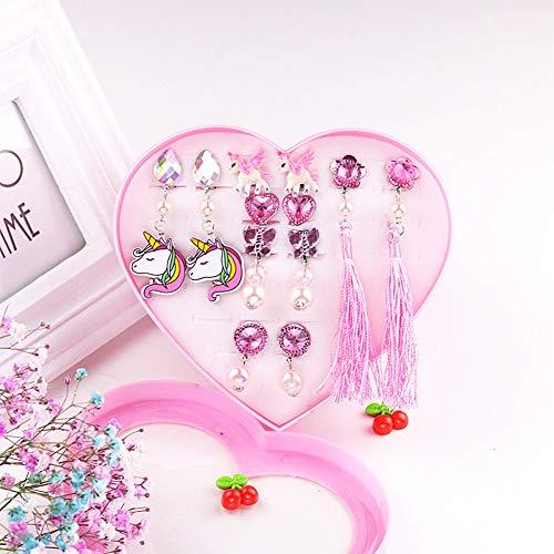 Yuccer Ohrclips Mädchen Spielen Ohrringe Prinzessin Clip auf Ohrringe Set Kinder Zubehör Geburtstagsgeschenk Party Gefallen 12 Paare (Pink)