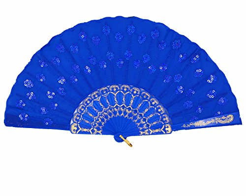 Amajiji Womans Folding Fans ,Handmade Embroidered Flower Peacock Pattern Sequin Fabric Folding Fans (Red)