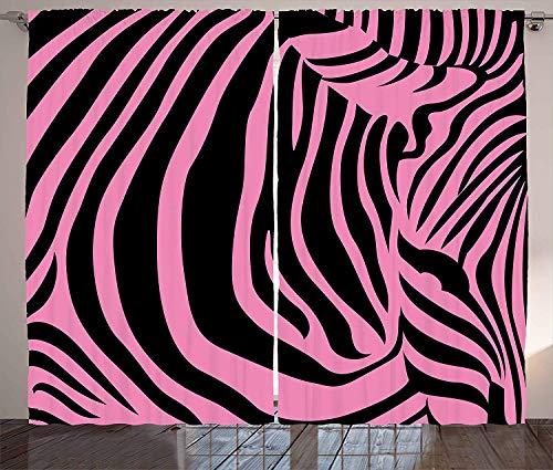 BJGCWY Rosa Zebra-Vorhänge Vibrierender Hintergrund Zebra-Haut-Künstlerische Avantgarde-Stammes- Punk-Indie-Wilde Wohnzimmer-Schlafzimmer-Fenster-Vorhänge