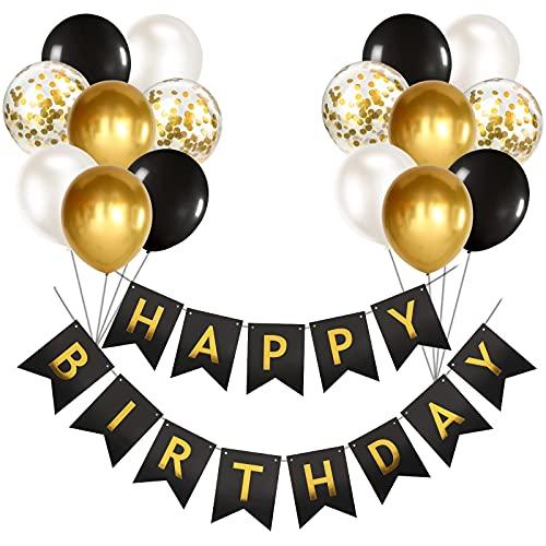 Banderole Joyeux Anniversaire Ballon Noir D'or Happy Birthday Bannière Ballon Confettis Guirlande Happy Birthday Decoration Anniversaire 18 30 50 Ans