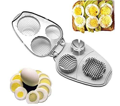 Nicetruc Huevo máquina de Cortar 3 en 1 de Acero Inoxidable máquinas de Cortar manuales para los Huevos Duros BOI Herramienta de la Cocina Blanca