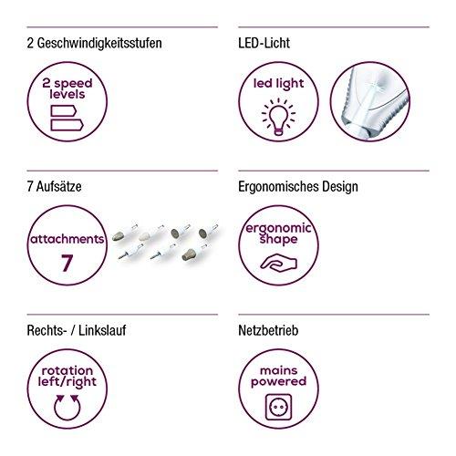 Beurer MP 41 elektrisches Maniküre-/ Pediküre-Set, 7 Nagelpflege-Aufsätze, helles LED Licht