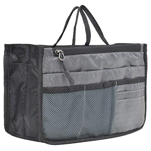 FATMUG Ladies Purse Organizer For Easy Handbag Switch-Multi Pocket Pouch For Women and Girls - Grey