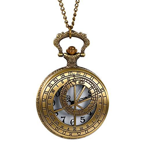 Retro Herren Damen Taschenuhr, LANCARDO Kettenuhr Analog Quarz Modisch 12 Sternbilder Gravur Kompass Muster Uhr mit Halskette, Bronze